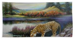Tiger By The River Hand Towel