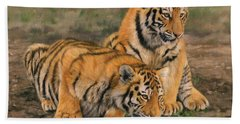 Tiger Cubs Hand Towel by David Stribbling