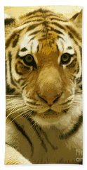 Hand Towel featuring the digital art Tiger Eyes by Erika Weber