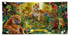 Tiger Family In The Jungle Hand Towel