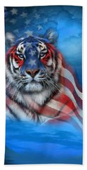 Hand Towel featuring the mixed media Tiger Flag by Carol Cavalaris