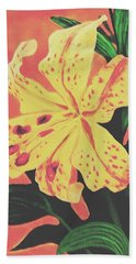 Hand Towel featuring the painting Tiger Lily by Sophia Schmierer