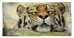 Tiger Snooze Hand Towel by Athena Mckinzie