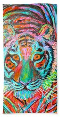 Bath Towel featuring the painting Tiger Stare by Kendall Kessler