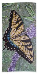 Hand Towel featuring the painting Tiger Swallowtail Butterfly by Kathy Marrs Chandler