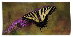 Bath Towel featuring the photograph Tiger Swallowtail On Butterfly Bush by Diane Schuster