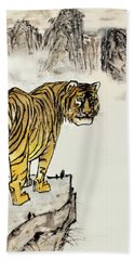 Bath Towel featuring the painting Tiger by Yufeng Wang