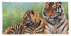 Tigers Hand Towel by David Stribbling