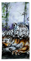 Bath Towel featuring the painting Tigers-mother And Child by Harsh Malik