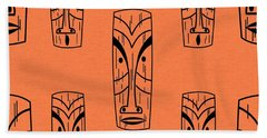 Tiki On Orange Pillow Hand Towel