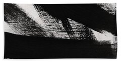 Timber 2- Horizontal Abstract Black And White Painting Bath Towel
