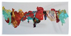 Hand Towel featuring the mixed media Timeline by Mary Sullivan