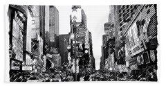 Times Square   New York City Hand Towel by Iconic Images Art Gallery David Pucciarelli