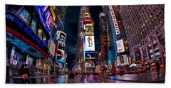 Times Square New York City The City That Never Sleeps Hand Towel by Susan Candelario
