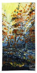 Bath Towel featuring the painting Tim's Autumn Trees by Holly Carmichael
