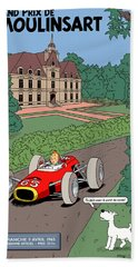 Tintin Grand Prix De Moulinsart 1965  Hand Towel