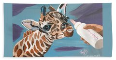 Tiny Baby Giraffe With Bottle Hand Towel