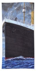 Titanic At Sea Full Speed Ahead Hand Towel by Martin Davey