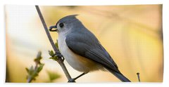 Titmouse In Gold Hand Towel