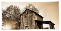 Tobacco Barn In Sunset Hand Towel