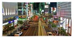 Tokyo Neon Streaks Hand Towel