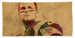 Tom Brady New England Patriots Quarterback Watercolor Portrait On Distressed Worn Canvas Hand Towel