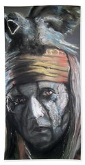 Hand Towel featuring the pastel Tonto by Peter Suhocke