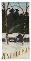 Tonys House In Sweden Hand Towel by Pamela  Meredith