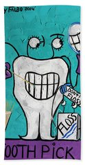 Tooth Pick Dental Art By Anthony Falbo Bath Towel