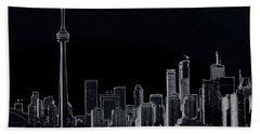 Toronto Skyline Black And White Abstract Bath Towel