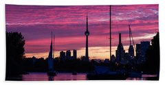 Toronto Skyline - The Boats Are Coming In Hand Towel