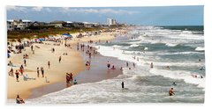 Tourist At Kure Beach Hand Towel