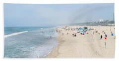 Tourists On The Beach, Santa Monica Hand Towel by Panoramic Images