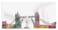 Tower Bridge Colorsplash Hand Towel by Aimee Stewart
