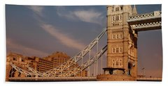 Tower Bridge Sunset Hand Towel by Jonah  Anderson