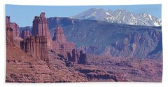 Hand Towel featuring the photograph Towering Rockformations by Bruce Bley