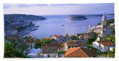 Town On The Waterfront, Hvar Island Hand Towel