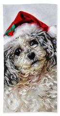 Hand Towel featuring the photograph Toy Poodle- Animal- Christmas by Kenny Francis