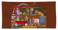Bath Towel featuring the painting Toys In The Attic by Jennifer Lake