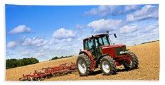Tractor In Plowed Farm Field Bath Towel