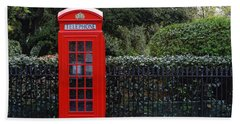 Traditional Red Telephone Box In London Bath Towel