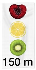 Traffic Light Hand Towel by Veronica Minozzi