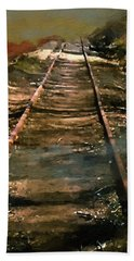 Train Track To Hell Bath Towel by RC deWinter