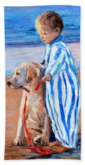 Hand Towel featuring the painting Training Day by Molly Poole