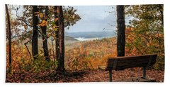 Hand Towel featuring the photograph Tranquility Bench In Great Smoky Mountains by Debbie Green