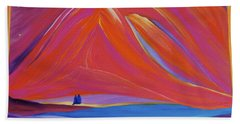 Bath Towel featuring the painting Travelers Pink Mountains by First Star Art