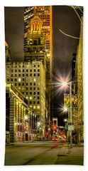 Travis And Lamar Street At Night Hand Towel