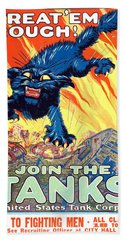 Treat 'em Rough Vintage Us Army Poster Hand Towel by Gary Bodnar