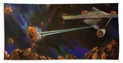 Hand Towel featuring the mixed media Trek Adventure by Peter Suhocke