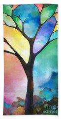 Original Art Abstract Art Acrylic Painting Tree Of Light By Sally Trace Fine Art Bath Towel